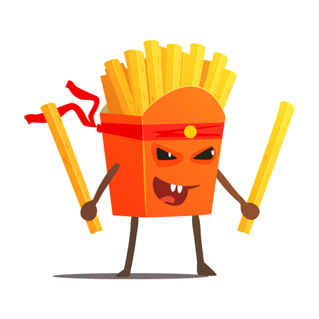Pack Of Fries With Two Sticks Karate Fighter, Fast Food Bad Guy Cartoon Character Fighting Illustration. Junk Food Menu Item With Evil Face Looking For A Fight Vector Drawing. Illusztráció