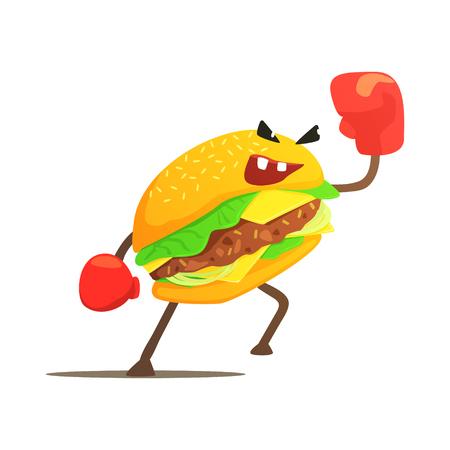 Burger Sandwich Box Fighter in handschoenen, Fast Food Bad Guy stripfiguur vechten illustratie. Junk Food Menu Item With Evil Face Op zoek naar een gevechtstekening.