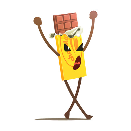 Chocolate Bar Half Unwrapped Street Fighter, Fast Food Bad Guy Cartoon Character Fighting Illustration. Junk Food Menu Item With Evil Face Looking For A Fight Drawing.
