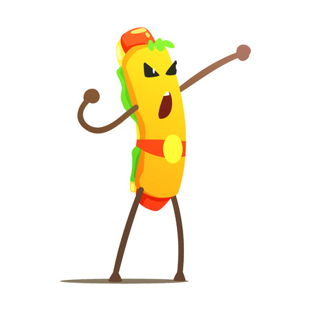 Hot Dog In Champion Belt Street Fighter, Fast Food Bad Guy Cartoon Character Fighting Illustration. Junk Food Menu Item With Evil Face Looking For A Fight Drawing. Illustration