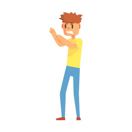 Guy griffant des bras couverts de boutons, une personne adulte se sentant mal, malade, souffrant de la maladie. Personnage de dessin animé malsain avec des symptômes de maladie nécessitant un traitement médical. Vecteurs