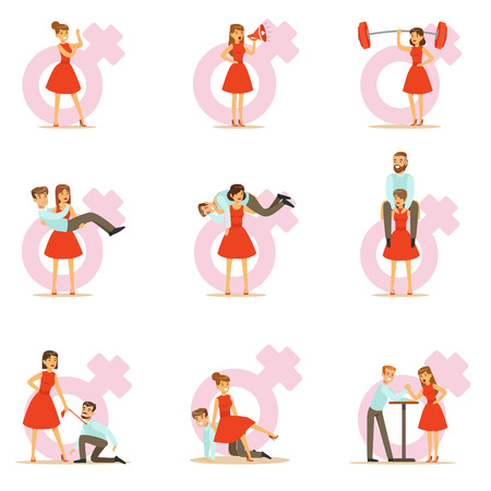 Woman In Red Dress Taking On Traditional Male Roles And Exchanging Places With Man, Set Of Feminism Illustration And Female Power