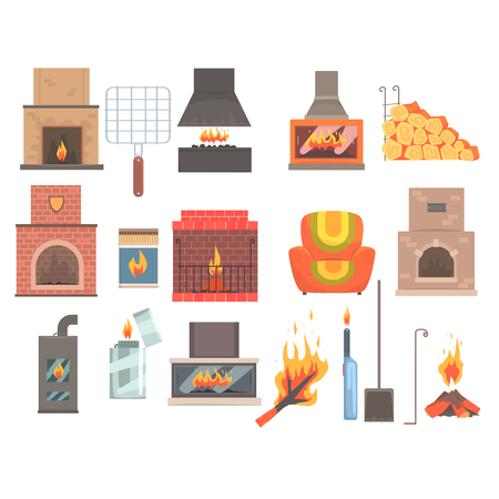 fireplace lighter: Indoors And Outdoors Fireplaces And Bonfires With Related Attributes And Tools Set Of Vector Cartoon Objects