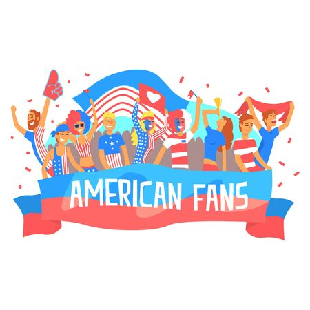 devotee: Cheering Happy Supporting Crowd Of National American Football Spots Team Fans And Devotees With Banners And Attributes Illustration