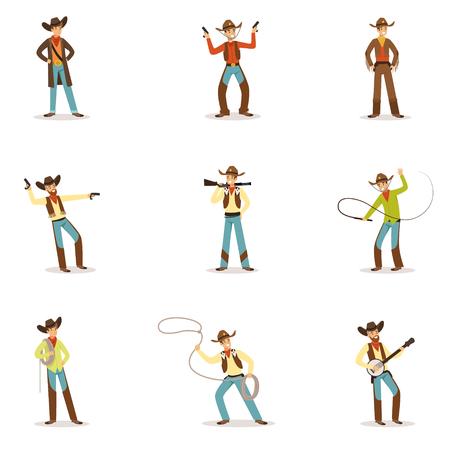 漫画のキャラクター、伝統的なテキサスのカウボーイの衣装で近代的な西洋牛ハードルの別の付属品セットを持つ北アメリカのカウボーイ。