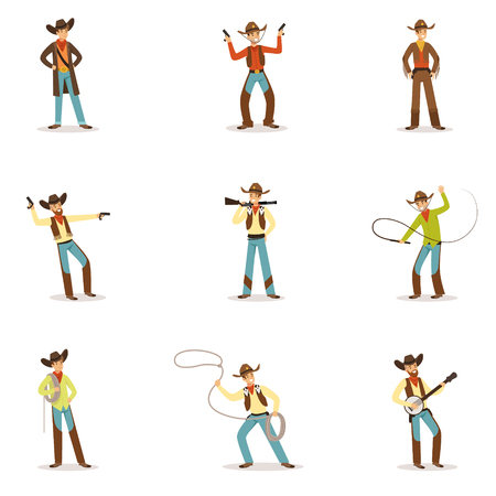 North American Cowboy With Different Accessories Set Of Cartoon Characters, Modern Western Cattle Hurdlers In Traditional Texan Cowboy Outfit.
