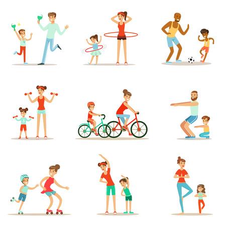 Ouder en kind Doen Sportive oefeningen en Sport Training samen met plezier Set Of Scenes Stock Illustratie