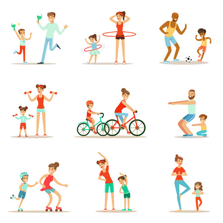 sit ups: Parent And Child Doing Sportive Exercises And Sport Training Together Having Fun Set Of Scenes