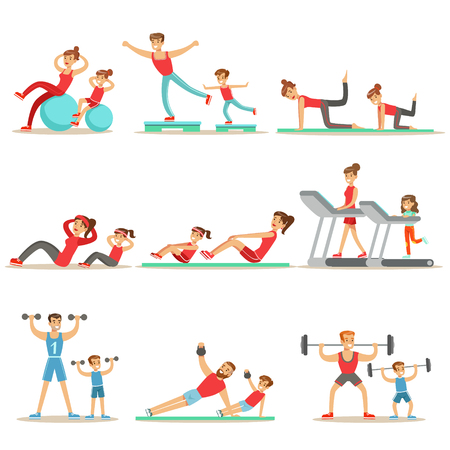 Parent And Child Doing Sportive Exercises And Sport Training Together Having Fun Series Of Scenes Stock Vector - 72534054