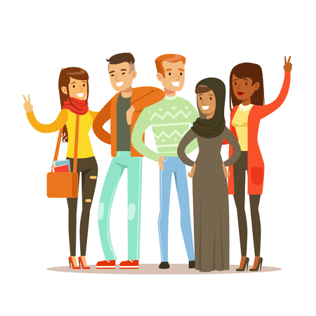 interracial: Young Friends From All Around The World Standing Posing For Photo, Happy International Friendship Vector Cartoon Illustration Illustration
