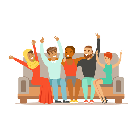 interracial: Young Friends From All Around The World Cheering On Sofa, Happy International Friendship Vector Cartoon Illustration Illustration