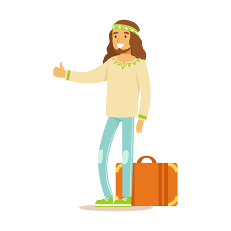 Guy Hippie Dressed In Classic Woodstock Sixties Hippy Subculture Clothes Hiitchhiking With Suitcase