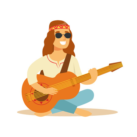 legs crossed: Man Hippie Dressed In Classic Woodstock Sixties Hippy Subculture Clothes Sitting Playing Guitar In Round Shades Illustration