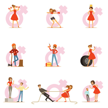 Woman In Red Dress Taking On Traditional Male Roles And Exchanging Places With Man, Series Of Feminism Illustration And Female Power Illustration