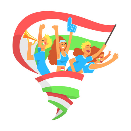Cheering Happy Supporting Crowd Of National Italian Football Spots Team Fans And Devotees With Banners And Attributes. Sportive Support Team With Flags Screaming And Smiling On A Stadium Vector Illustration.