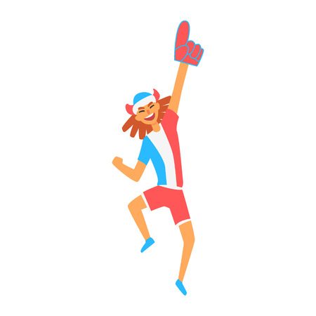 devotee: Cheering Happy Supporter Of French National Football Spots Team, Fan And Devotee With Attributes. Sportive Support Team Member With Flag Screaming And Smiling On A Stadium Vector Illustration.