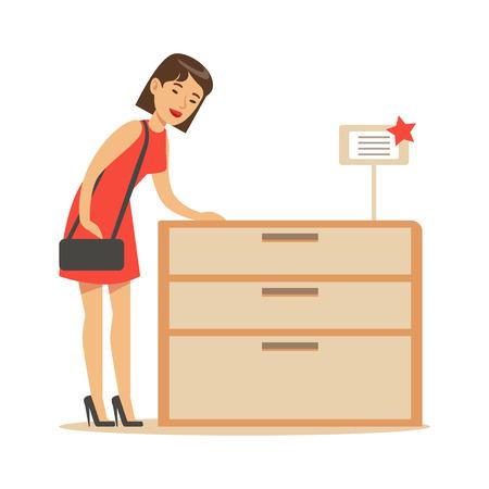 Frau, die einen hölzernen Aufbereiter, lächelnden Käufer im Möbelgeschäft kauft für Haus-Dekor-Elemente kauft Vektorgrafik