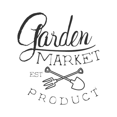 Garden Market Product Black And White Promo Sign Design Template With Calligraphic Text. Fresh Bio Food, Farming And Gardening Products Store Monochrome Vector Label.