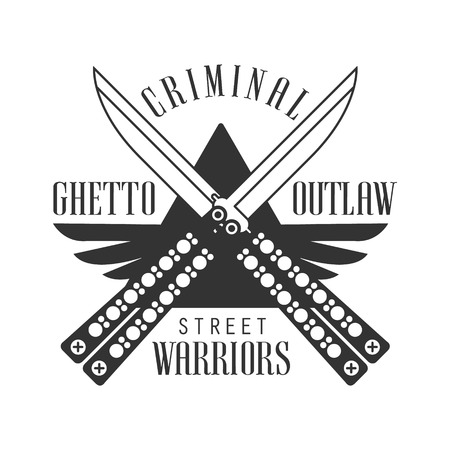 butterfly knife: Criminal Outlaw Street Club Black And White Sign Design Template With Text And Crossed Butterfly Knives