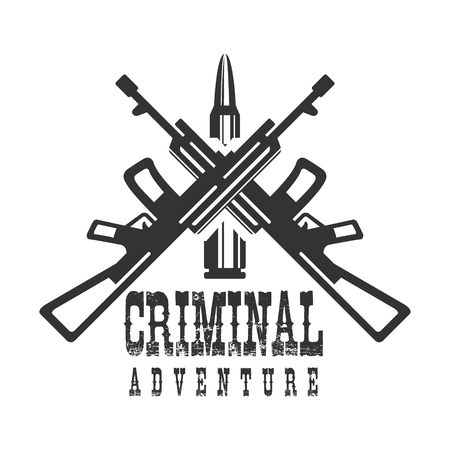 Criminal Outlaw Street Club Black And White Sign Design Template With Text, Crossed Rifles And Bullet