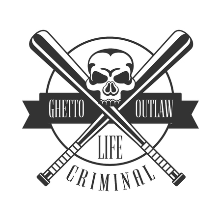 Criminal Outlaw Street Club Black And White Sign Design Template With Text, Crossed Bats And Scull