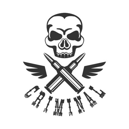 Criminal Outlaw Street Club Black And White Sign Design Template With Text , Wings And Scull