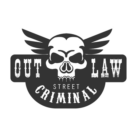 Criminal Outlaw Street Club Black And White Sign Design Template With Text And Winged Scull