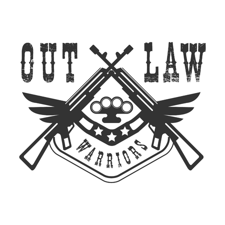 Criminal Outlaw Street Club Black And White Sign Design Template With Text And Winged Rifles Illustration