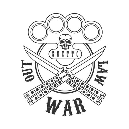 Criminal Outlaw Street Club Schwarz-Weiß-Zeichen-Design-Vorlage mit Text, Schlagring und Schmetterlingsmesser