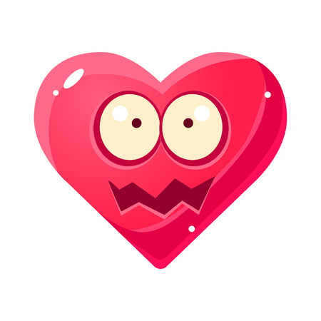 shaken: Shocked Ans Shaken Emoji, Pink Heart Emotional Facial Expression Isolated Icon With Love Symbol Emoticon Cartoon Character Illustration
