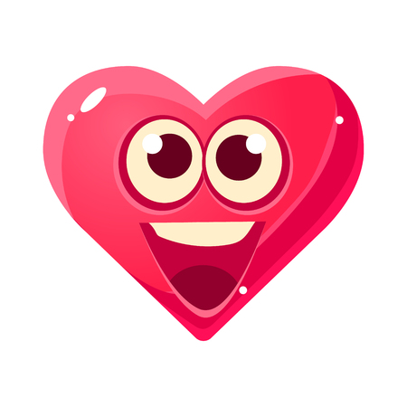 HAppy And Excited Emoji, Pink Heart Emotional Facial Expression Isolated Icon With Love Symbol Emoticon Cartoon Character Illustration