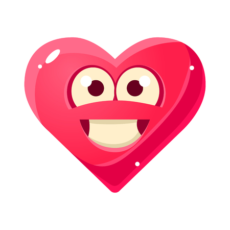 face off: Content And Proud Emoji, Pink Heart Emotional Facial Expression Isolated Icon With Love Symbol Emoticon Cartoon Character