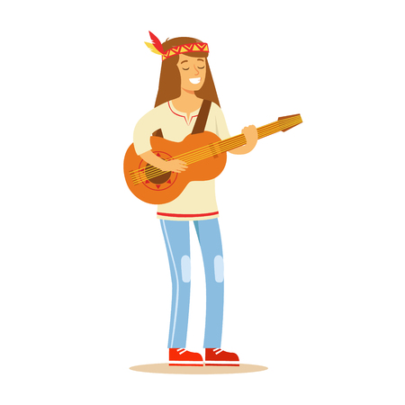 Guy Hippie Dressed In Classic Woodstock Sixties Hippy Subculture Clothes Standing Playing Guitar Illustration