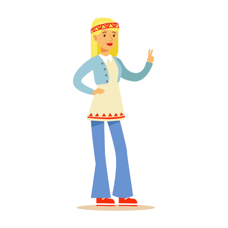 Girl Hippie Dressed In Classic Woodstock Sixties Hippy Subculture Clothes In Flared Jeans