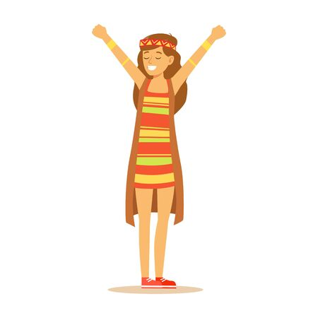 Girl Hippie Dressed In Classic Woodstock Sixties Hippy Subculture Clothes, Colorful Dress And Long Vest