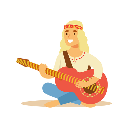 Guy Hippie Dressed In Classic Woodstock Sixties Hippy Subculture Clothes Sitting Barefoot With Guitar Illustration