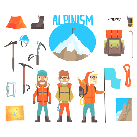 Three Mountaineers And Mountaineering Equipment Set Of Alpinism And Alpinist Tools Vector Illustrations Banco de Imagens - 72535170