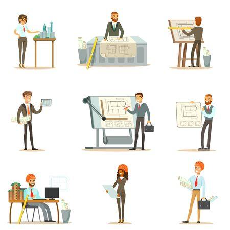 Architect Beroep Set van vectorillustraties met architecten ontwerpen van projecten en blauwdrukken voor bouw
