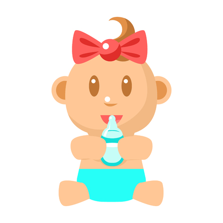 Small Happy Baby Girl Sitting Holding Milk Bottle Vector Simple Illustrations With Cute Infant Illustration