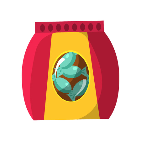Bag With Candy Snack, Cinema And Movie Theatre Related Object Cartoon Colorful Vector Illustration. Isolated Object Cinematography Entertainment Attribute In Bright Color. Illustration