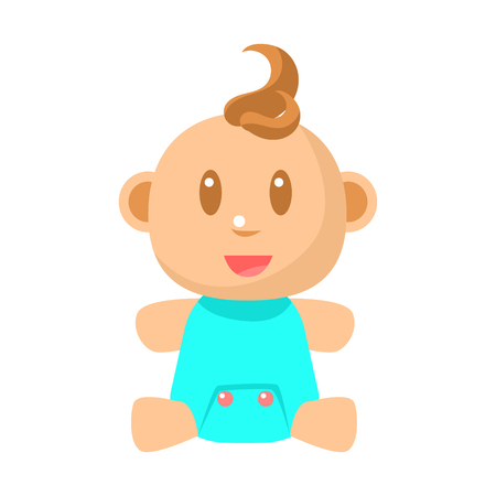 Small Happy Baby Boy Sitting In Blue cloth Vector Simple Illustrations With Cute Infant