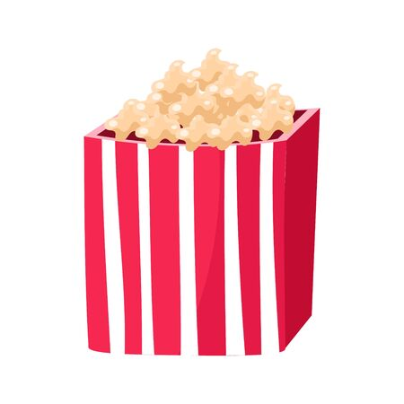 Stripy Paper Bucket With Popcorn Snack, Cinema And Movie Theatre Related Object Cartoon Colorful Vector Illustration. Isolated Object Cinematography Entertainment Attribute In Bright Color. Illustration