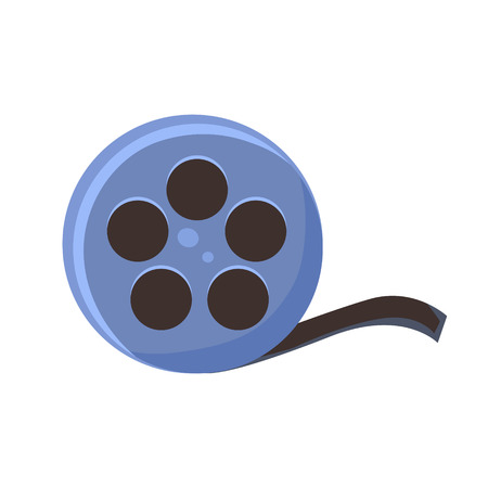 Film Reel, Cinema And Movie Theatre Related Object Cartoon Colorful Vector Illustration