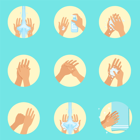 Hands Washing Sequence Instruction, Infographic Hygiene Poster For Proper Hand Wash Procedures. Info Illustration How To Clean Palms In Hygienic Way Series Of Vector Icons. Ilustração
