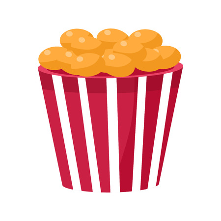 Crispy Fried Snack In Stripy Bucket, Cinema And Movie Theatre Related Object Cartoon Colorful Vector Illustration. Isolated Object Cinematography Entertainment Attribute In Bright Color.