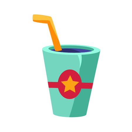 Soft Drink In Glass With A Straw, Cinema And Movie Theatre Related Object Cartoon Colorful Vector Illustration. Isolated Object Cinematography Entertainment Attribute In Bright Color.
