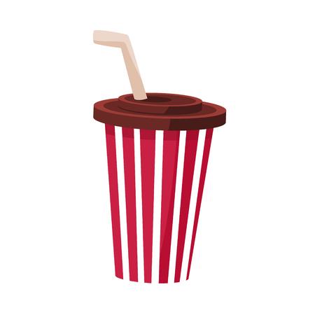 Boisson gazeuse dans la tasse de papier rayé avec paille, cinéma et cinéma Objet connexe Cartoon Vector Illustration colorée. Attribut de divertissement Cinématographie d'objet isolé en couleurs vives. Banque d'images - 72535193