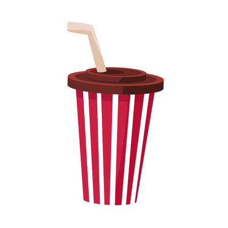 Soft Drink In Stripy Paper Cup With Straw, Cinema And Movie Theatre Related Object Cartoon Colorful Vector Illustration. Isolated Object Cinematography Entertainment Attribute In Bright Color.