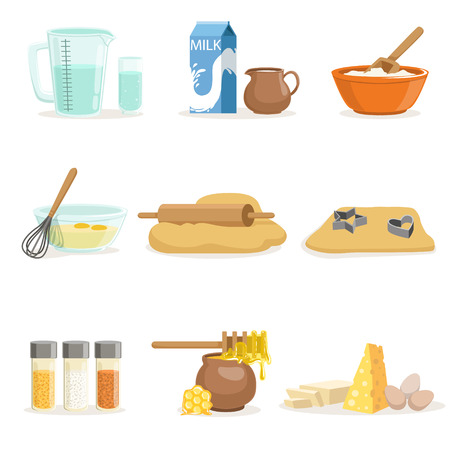 dough: Baking Ingredients And Kitchen Tools And Utensils Set Of Realistic Cartoon Vector Illustrations With Cooking Related Objects. Kitchen Equipment And Farm Fresh Products For Bakery Needs Series Of Colorful Icons. Illustration