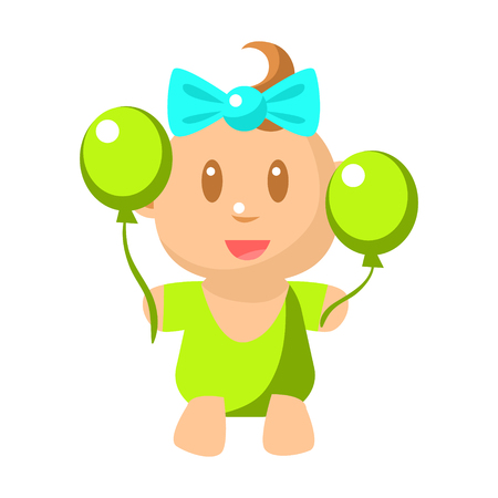 Small Happy Baby Girl With Two Balloons Vector Simple Illustrations With Cute Infant. Part Of Infancy Series Of Isolated Flat Icons With Smiling Kids And Their Activities.